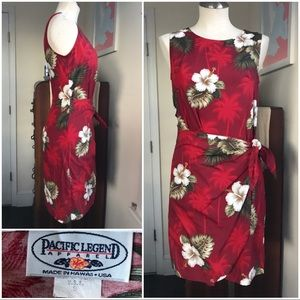 Vtg Hawaiian wrap waist dress